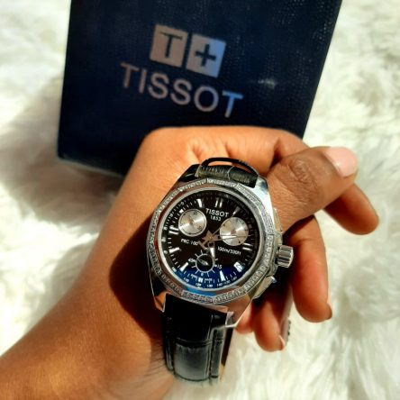 TISSOT LEATHER STRAP AND BLACK FACE